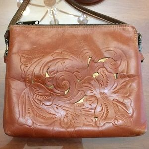 Patricia Nash Brown & Gold Italian tooled leather